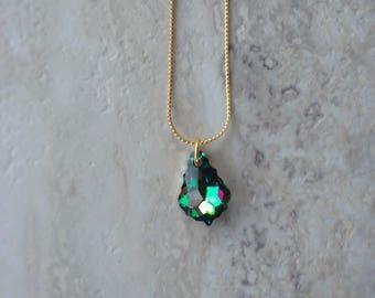 Swarovski Emerald and Purple Necklace
