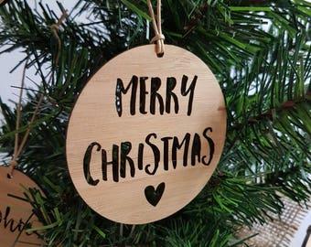 Merry Christmas Wood Christmas Decoration-Heart-ornament-xmas