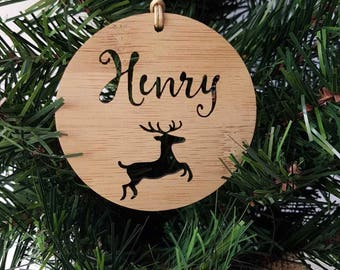 Personalised Wood Christmas Decoration-Reindeer-Ornament-christmas tree-gift-christmas gift-wooden-teachers gift