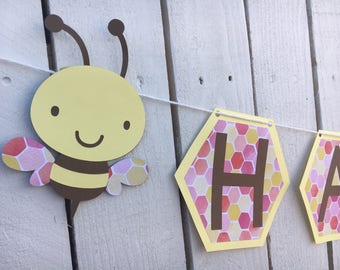 Bumble Bee Happy Birthday Banner