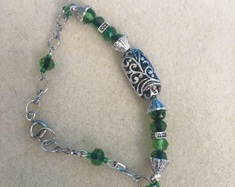 Emerald green and silver bracelet