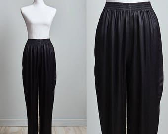 80s Pants Women, High Waisted Tapered Pants, Black Satin Tapered Pants with Pockets