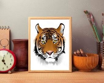 Tiger Print, Tiger Wall Art, Tiger, Animal, Animal print, Minimal art, Nursery art, Kids, Minimal Print, Scandinavian Printable Art, Modern