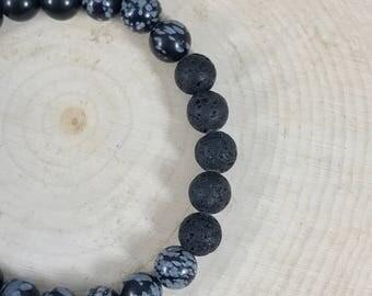 Mens Bracelet | Essential Oil Diffuser Bracelet | Black Snowflake Obsidian | Natural Stone |  Mens Jewelry | Gift for Him | Stretch
