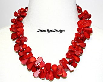 Red Coral Statement Necklace with Red Faceted Crystals