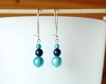 Earrings pearls magical turquoise blue and Navy