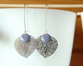 Purple sequin and silver filigree leaf earring