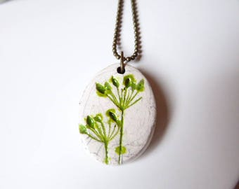 Necklace with Pearl raku ceramic handmade green pattern foam