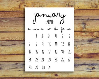 January 2018 Printable Calendar - Black And White - Instant Download Birth Announcement Printable Newborn