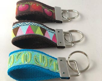 Fabric Key Fob Keychain Stocking Stuffer Gifts Under 10 Office Gift New Driver Jacquard Ribbon