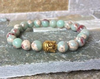 Buddha bracelet of Jasper gold Buddha mala Bracelet 8mm