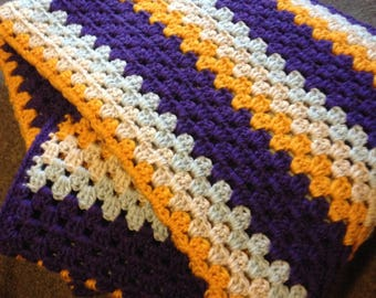 Granny Stripe Crochet Blanket/ Twin Bed/ Adult Blanket/ Adult Afghan