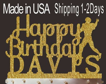 Any Name, Personalized Happy Birthday Cake Topper, Custom Rugby Player Cake Topper, Gold Glitter Birthday Topper, Create Your Own! PT001