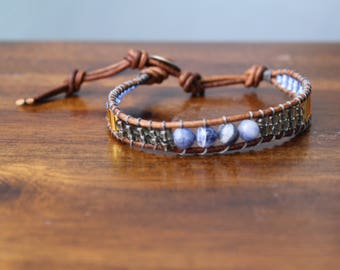 Blue/ Gold Wrap Bracelet