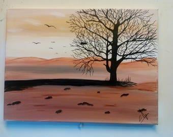 Desert landscape in autumn, Acrylic paint.