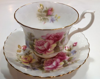 Royal Albert Bone China Tea Cup and Saucer, with Pink and Yellow Roses