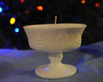Milk Glass Candle  | Vanilla Scented Soy Candle