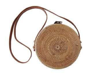 Round Circle Capri Crossbody Purse; Woven Bamboo / Rattan / Straw Wicker Beach Bag Tote (Sold Out for March/April, PreOrder - May Shipping)