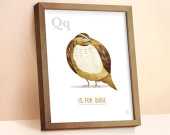 Quail Print | Nursery Animal Print | Alphabet letters | Alphabet Print | ABC letters | Animal Prints for Nursery | Nursery Wall Art