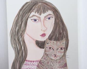 SALE - Original painting, cat painting, original painting, original art