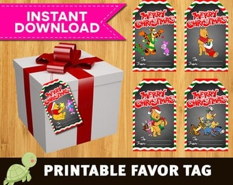 16 Winnie The Pooh christmas Thank you or Favor tags, instant download - Winnie The Pooh