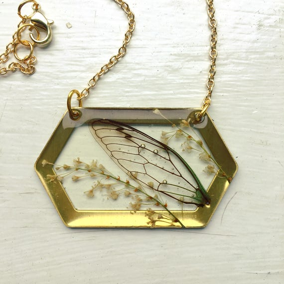 Real cicada wing and Japanese knotweed flower brass hexagon necklace
