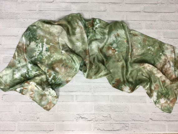 Coworker Gift! 100% Silk Oblong Scarf Hand Dyed Abstract Floral Watercolor Silk Scarves Teacher Gift Olive Sage Green Earth Tones #178