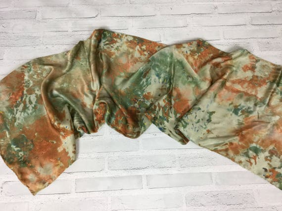 """Camouflage for the office! 100% Silk Oblong Scarf Hand Dyed Abstract Camo Watercolor Silk Scarves Copper Brown Olive Green 15""""x60"""" #187"""