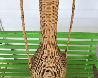 Boho Wicker Umbrella Basket