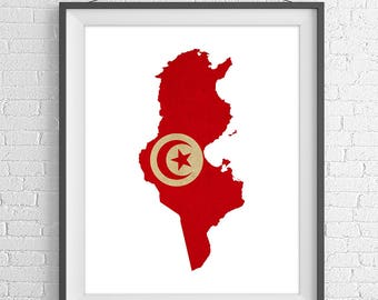 Tunisia Flag Map Print, Tunisia Map, Tunisia Silhouette Art, Vintage Flag Poster, Wall Art, Map of Tunisia, Geography Gift, African Gifts