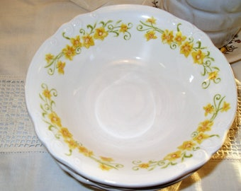 Jonquil Cereal Bowl Nikko Ironstone China Japan Embossed Scrolling Vintage  Retro