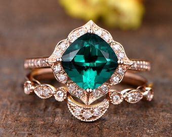 13ct cushion cut treated emerald engagement ring set14k rose gold diamond wedding band - Emerald Wedding Ring