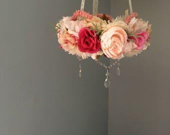 Flower Mobile, Floral Mobile, Flower Chandelier, Floral Chandelier, Crystal Mobile, Girl Nursery, Newborn Photography Prop, Pink Flower