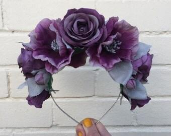 Purple Rose Flower Crown, Purple Rose Headband, Antique Rose Crown, Wedding Headband, Boho Headband, Statement Headpiece, Governors Ball
