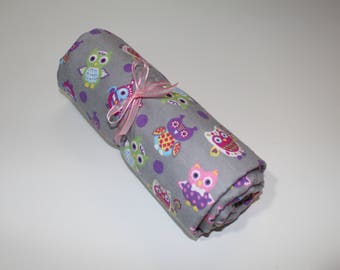 Colored Owls Pink & Gray Receiving/Toddler Blanket