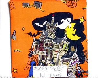 Fabric -1yd piece- Halloween/Boo Crew Orange Haunted House/Dracula/Frankenstein/mummy/Grim Reaper/Bats/Witch/Cauldron/Ghost/Black Cat(#2484)