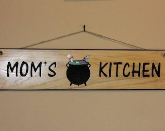 Carved Wood Sign - Mom's Kitchen Cauldron