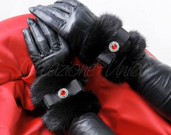 Luxury mink of for cuffs with Rhinestone black luxury mink cuffs fur / PELLICCIA Visone polsini / poignets de fourrure / vison puños de piel