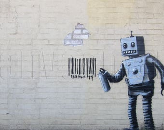 Robot Banksy Graffiti Spray Painting Stenciling Technique Dark Humour Canvas Print Giclée Gallery Wrap Free Shipping 40% OFF SALE