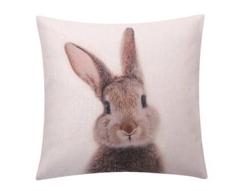 Easter rabbit throw pillow covers Bunny rabbit decorative pillow case Printed rabbit cushion cover Linen cushion case Sofa home decor 18x18