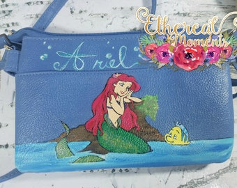 Up cycled The little mermaid - ariel - hand painted purse - princess purse - painted purse - blue purse
