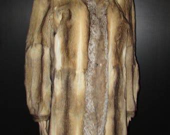 Vtg très joli  manteau de véritable fourrure de bassarisk/ lynx/ Vtg beautiful real bassarisk fur coat/lynx front band  MEDIUM   BUST 42