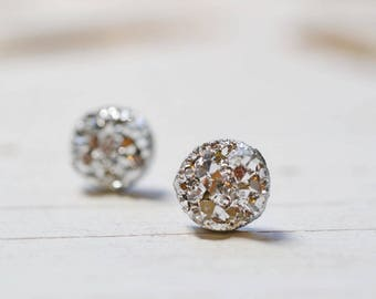 Tiny Silver Bridesmaids Earrings, Metallic Silver Druzy Earrings, Wedding Jewelry, Bridal Party Gifts 8mm Studs
