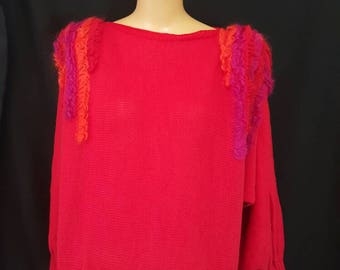 ZANDRA RHODES Vintage 80s Red Wool Knit Sweater Neon Mohair Accents England S