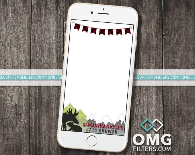 Woodland Animals Geofilter - Custom Snapchat Geofilter - Birthday / Baby Shower - Any Event! Buffalo Plaid, Lumberjack