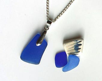 Cobalt Blue Sea Glass Necklace with Sterling Silver Chain
