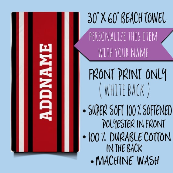 Personalized Beach Towel, Custom Red White Black Stripes Beach Towel,Custom towel, Custom Towels,Custom Name Beach Towels, Personalized Gift