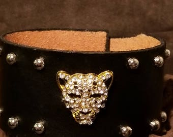 Genuine leather bling panther cuff bracelet