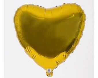 Balloon heart gold 45 cm helium love wedding anniversary engagement decoration