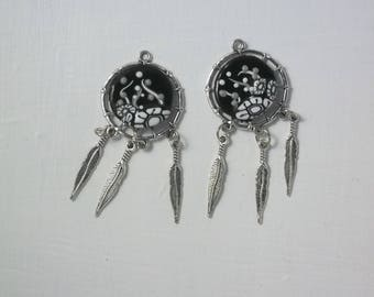 Dream catcher Pieces pendants for creations of polymer clay and silver set of 2